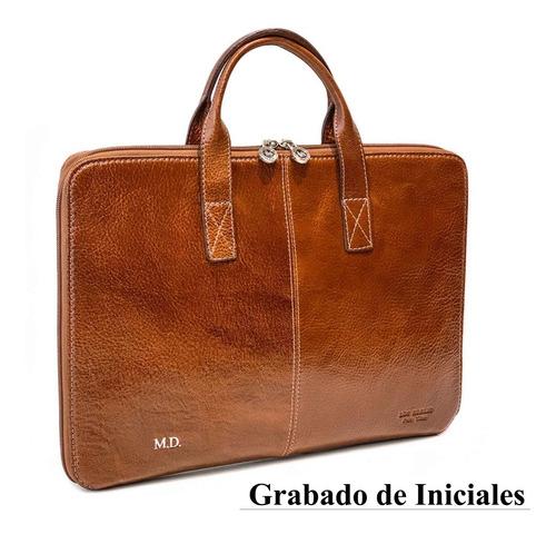 maletin portafolio cuero hombre mujer porta notebook 15.6 pulgadas tamaño oficio dos divisiones ejecutivo modelo 1089