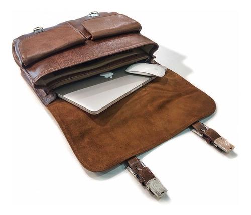 maletin portafolio cuero hombre porta notebook 15.6´ oficio 2 divisiones correa ajustable ejecutivo attache modelo 0916