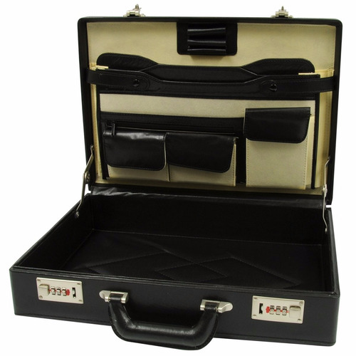 maletin portafolio negro tipo piel ejecutivo oficina porta