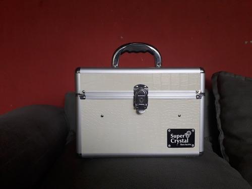 maletin portátil para cosméticos marca súper crystal blanco