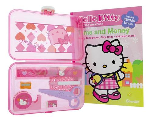 maletin set colegial hello kitty + libro de regalo