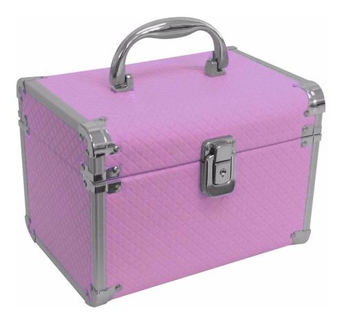 maletin tela color para maquillaje rosa - crema m2111