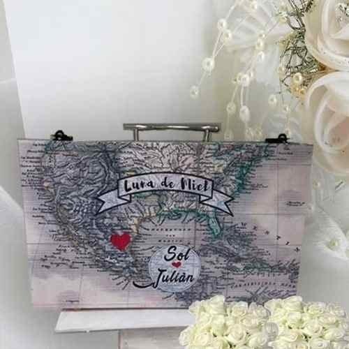 maletin valija luna de miel para bodas original buzón urna