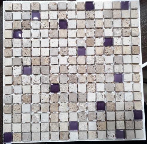 malla 30x30 travertino mix obispo vidrio violeta fachia 2x2