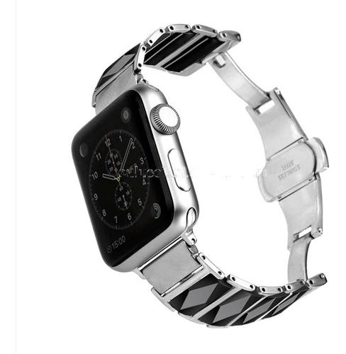 malla acero inoxidable 316l con ceramica apple watch 38-42mm