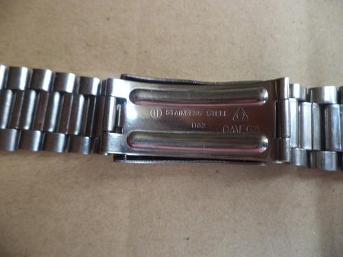 malla acero omega flightmaster original de 22mm. impecable