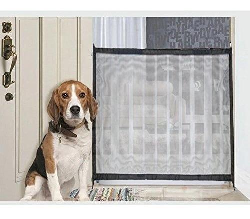 malla barrera puerta reja para mascotas perros negra 120cm