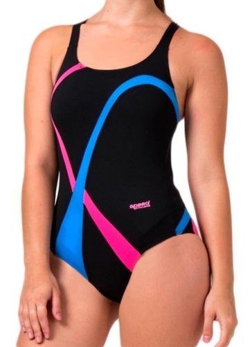 malla de natacion enteriza recortes combinados mujer speed