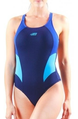 malla enteriza natación speed anticloro recort bicolor mujer