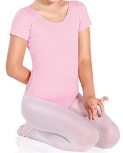 malla manga corta ballet rosada  negro talla 2 a 16
