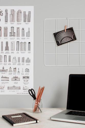 malla metálica grilla parrilla alambre organiza pared blanca