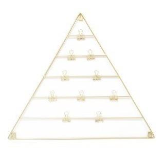 malla metalica triangulo dorado c/broche p/para fotos 60x50
