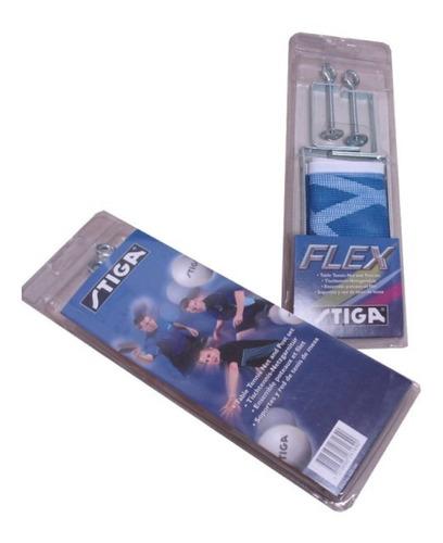 malla red pingpong set stiga flex + soportes tornillo