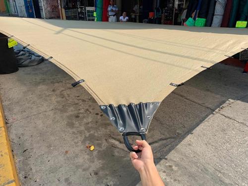 malla sombra 5x4 90% raschel beige reforzada