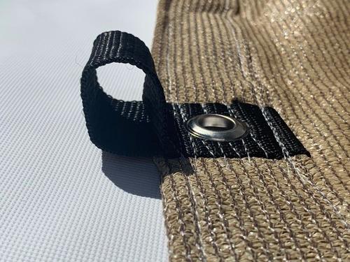 malla sombra 5x5 90% raschel beige reforzada