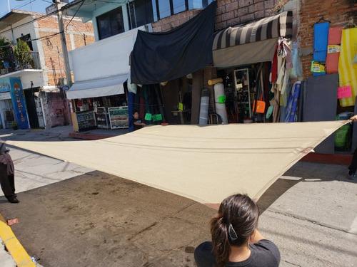 malla sombra 6x5 90% beige raschel lista para colocar