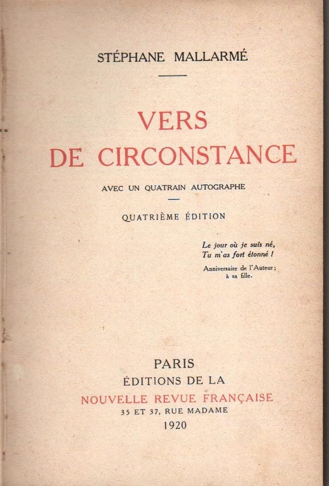 Mallarmé Vers De Circonstance 1920 22000