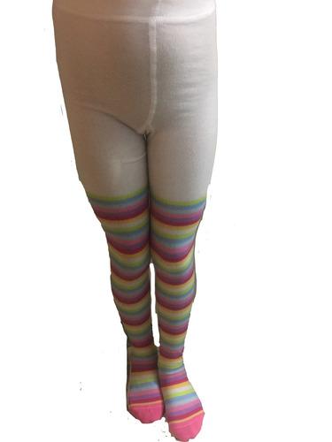 mallas gruesas rayadas arcoiris colores pastel niña tallas