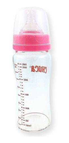 mamadeira de vidro 260ml bico de silicone chuca baby - rosa