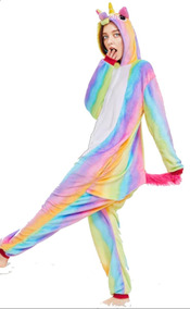 el precio más baratas artesanía exquisita múltiples colores Mameluco Pijama Unicornio Gorro Abertura Trasera Arco Iiris