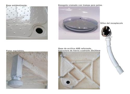 mampara baño cabina box ducha corrediza vidrio 70x70 recta