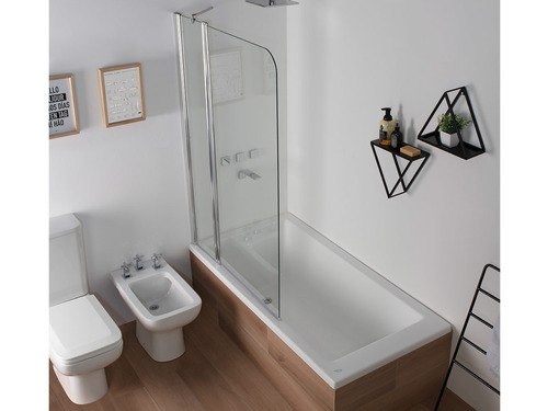 mampara baño ducha vidrio 5mm esmerilada rebatible 120x140cm