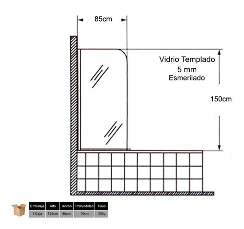 mampara baño ducha vidrio 5mm esmerilada rebatible 85x150 cm