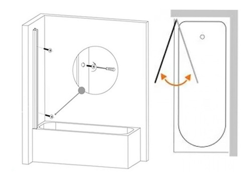 mampara baño ducha vidrio 5mm templado rebatible 120x140 cm