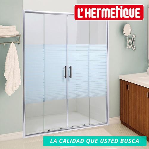 mampara baño l'hermetique + 1600x1900 + decorada 4 hojas