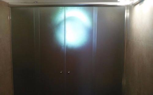 mampara corrediza cromado 1.60 x1.50 vidrio templa fume 6mm