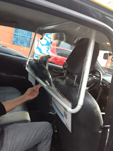 mampara protectora en cristal para polo taxi remis cabify
