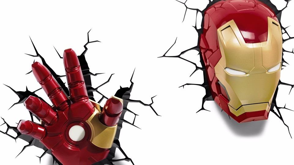 Iron man l mpara de noche 3d marvel en mercado - Fondos de pantalla de iron man en 3d ...