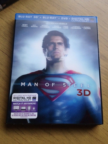 man of steel 3d lenticular cover blu-ray nuevo!