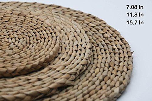 manantial alfombrilla trenzado de redondo de madera natural