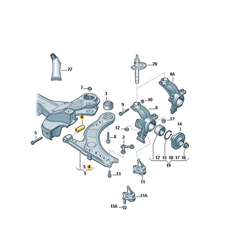 mancal de borrachalmetal passatcc (coupe) jetta eos
