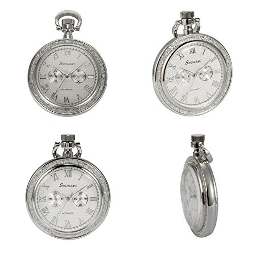 manchda silver open face 2 sub-dail 24 horas small second ma