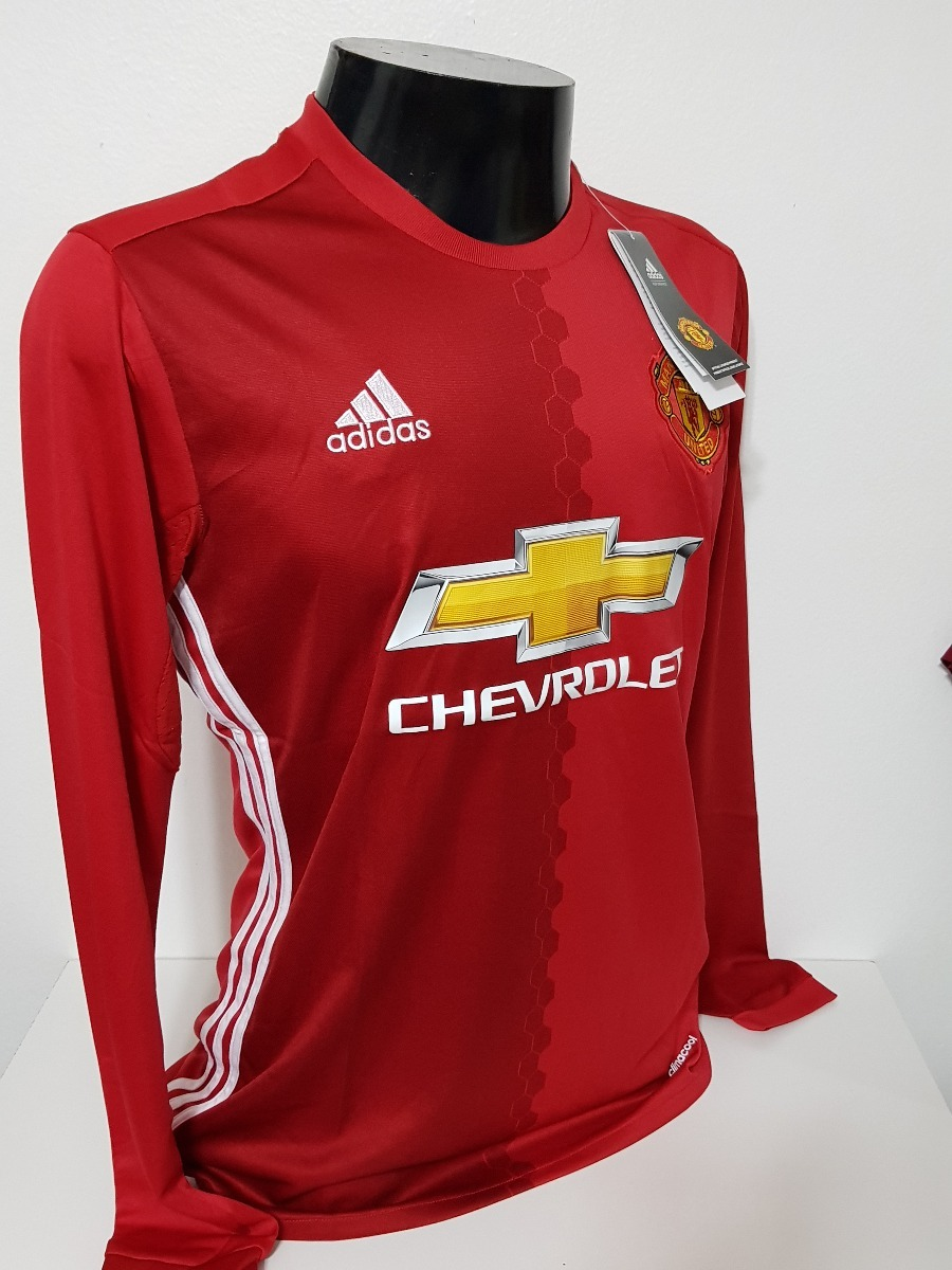 ecb8ebc89c26a Camisa Manchester United Home 16-17 Manga Longa Importada - R  130 ...