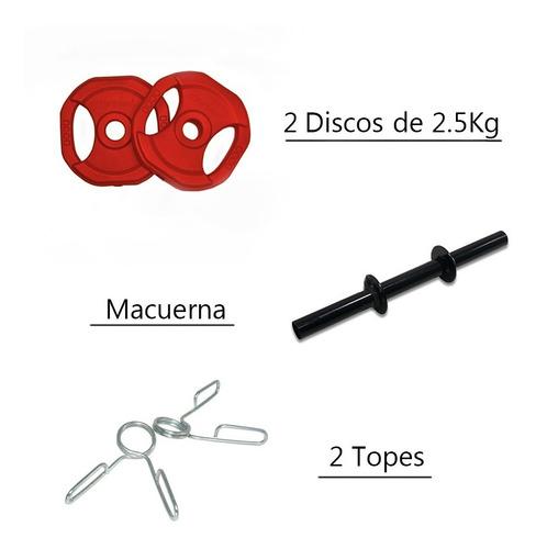 mancuerna 5 kg discos pvc body pump 770fitness manijas topes