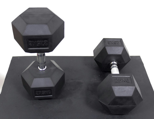 mancuerna hexagonal engomada 2,5kg hasta 50kg. precio x kilo