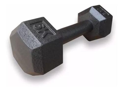 mancuerna hierro 4 kgs pesas fundicion manubrio hexagonal