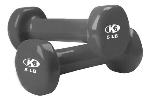 mancuerna pesas gym ejercicio mango vinil 5lb k6 fitness
