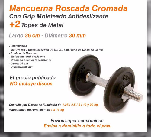 mancuerna roscada 36 cm x 30mm cromada metal maciza +2 topes