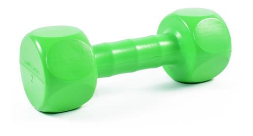 mancuernas de 2 kg hexagonal pvc color verde sport maniac