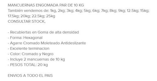 mancuernas pesas hexagonal goma - engomada par de 10 kg