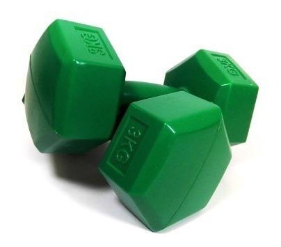 mancuernas plasticas par 3 kg  x 2 = 6 kg   sdmed