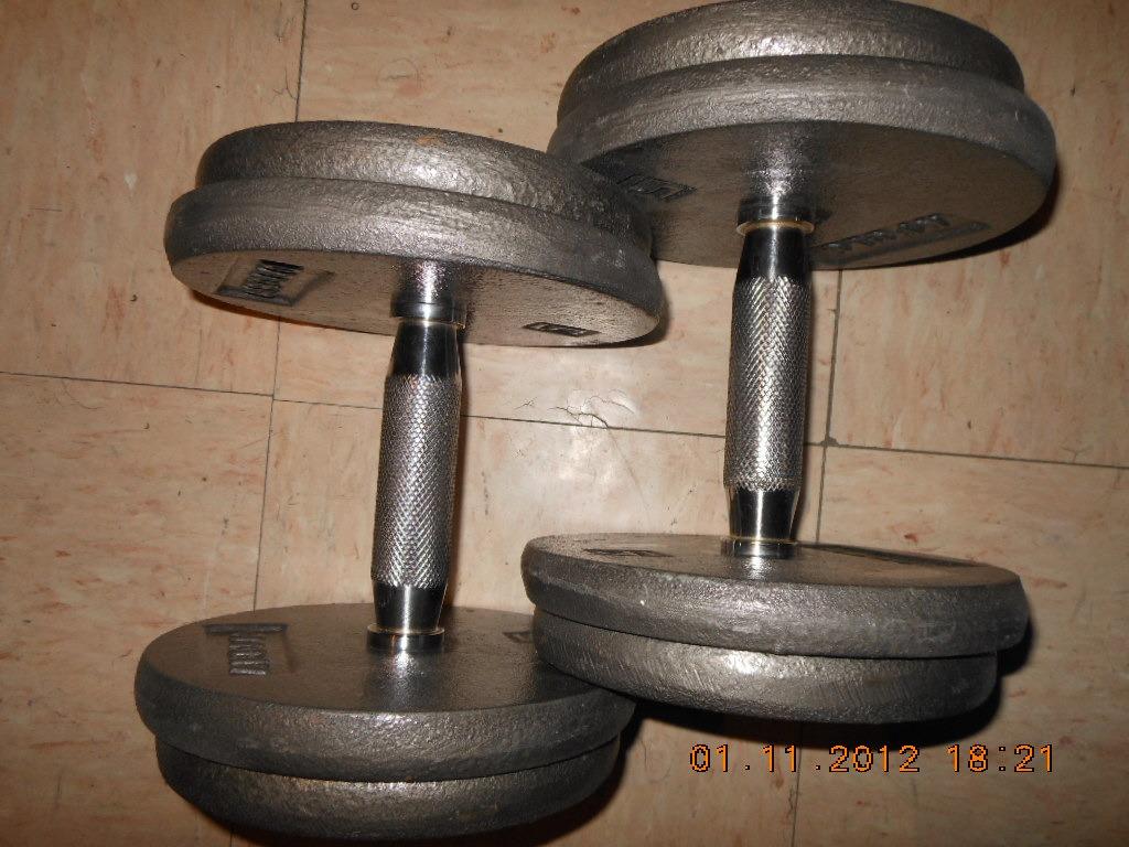 Mancuernas profesionales 40kgs no 20 gym pesas un par for Pesas y mancuernas