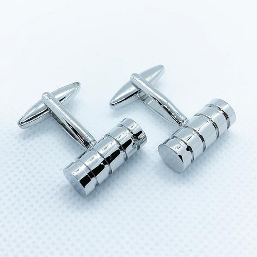 mancuernillas cilindro plateado gemelos acero para hombre