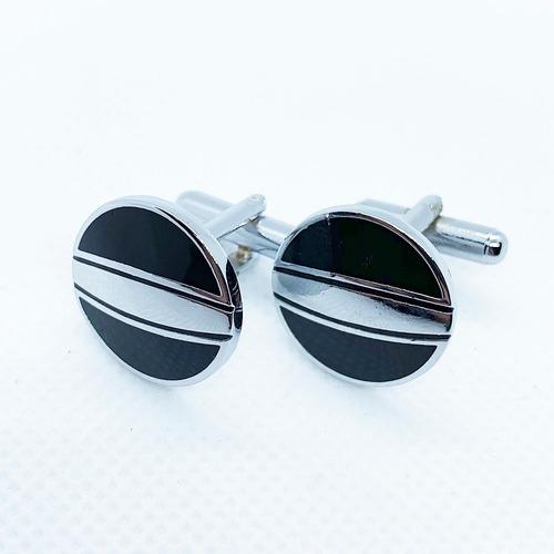 mancuernillas circulares plata con negro gemelos para hombre