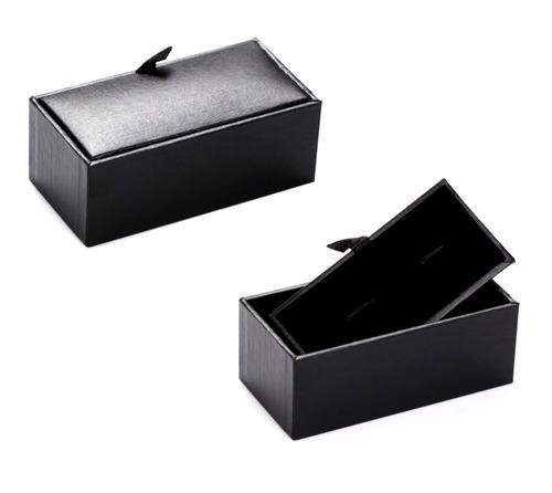 mancuernillas clasico formal plateado con negro d-916