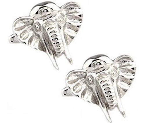 mancuernillas elefante con colmillos gemelos plateados e-992